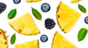 Pineapple, blueberries, blackberries