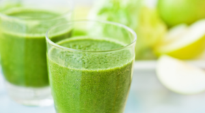 Two Glasses with Detox Green Smoothie