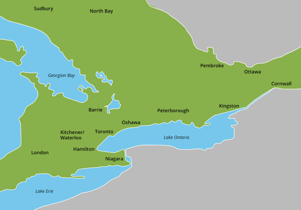 Koru Nutrition counselling serving south western Ontario map